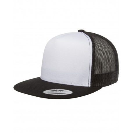 6006W Yupoong 6006W Adult Classic Trucker with White Front Panel Cap BLACK/WHT/BLK