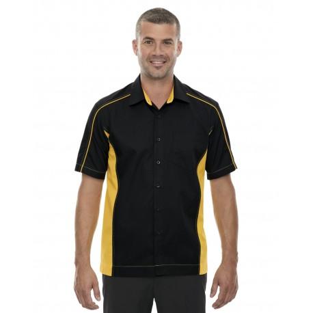 87042 North End 87042 Men's Fuse Colorblock Twill Shirt BLK/CMP GLD 464