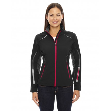78678 North End 78678 Ladies' Pursuit Three-Layer Light Bonded Hybrid Soft Shell Jacket with Laser Perforation BLK/OLY RED 461