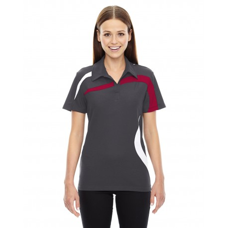 78645 North End 78645 Ladies' Impact Performance Polyester Pique Colorblock Polo BLKSILK 866
