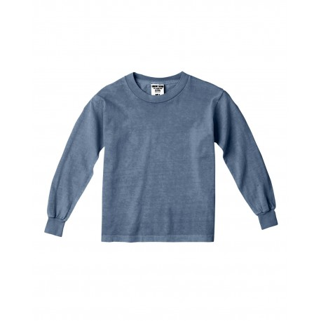C3483 Comfort Colors C3483 Youth 5.4 oz. Garment-Dyed Long-Sleeve T-Shirt BLUE JEAN