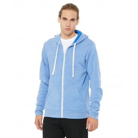 3909 Bella + Canvas 3909 Unisex Triblend Sponge Fleece Full-Zip Hoodie BLUE TRIBLEND
