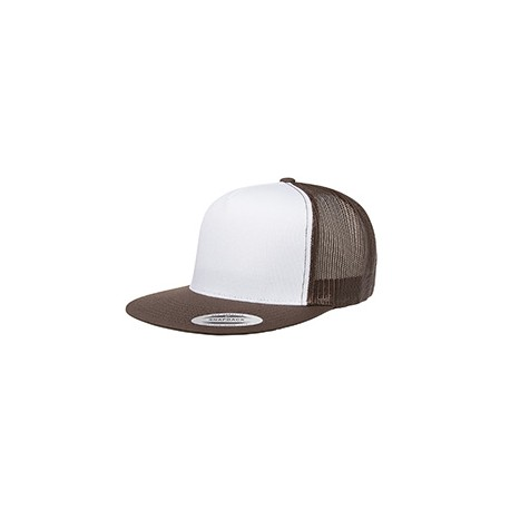 6006W Yupoong 6006W Adult Classic Trucker with White Front Panel Cap BROWN/WHT/BRWN