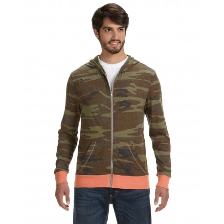 AA1970P Alternative AA1970P Men's Eco Jersey Triblend Long-Sleeve Printed Full Zip Hoodie CAMO