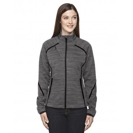 78697 North End 78697 Ladies' Flux Melange Bonded Fleece Jacket CARBON/BLK 456