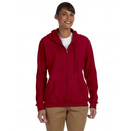 G186FL Gildan G186FL Ladies' Heavy Blend Ladies' 8 oz., 50/50 Full-Zip Hood CARDINAL RED