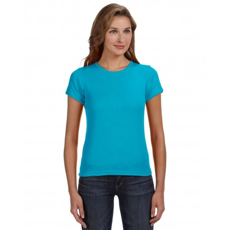 1441 Anvil 1441 Ladies' 1x1 Baby Rib Scoop T-Shirt CARIBBEAN BLUE