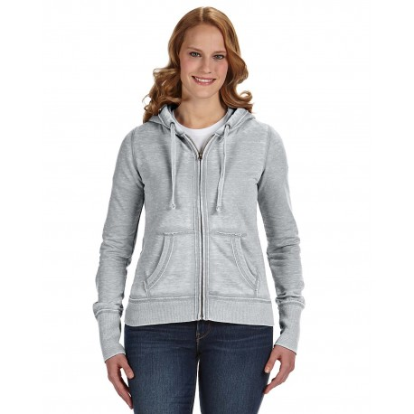 JA8913 J America JA8913 Ladies' Zen Full-Zip Fleece Hood CEMENT