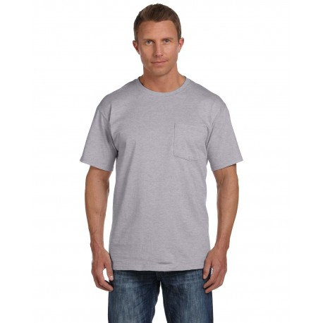 3931P Fruit of the Loom 3931P Adult 5 oz. HD Cotton Pocket T-Shirt ATHLETIC HEATHER