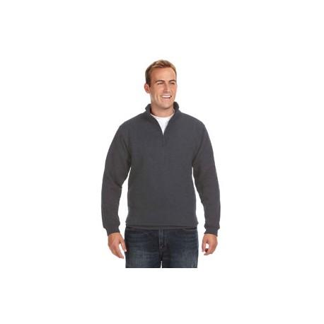 JA8634 J America JA8634 Adult Heavyweight Fleece Quarter-Zip CHARCOAL HEATHER