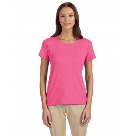 DP182W Devon & Jones DP182W Ladies' Perfect Fit Shell T-Shirt CHARITY PINK