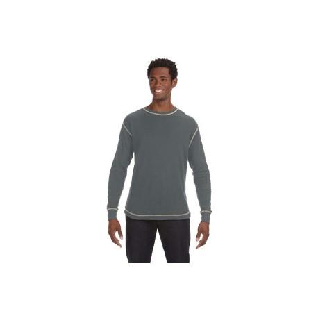 JA8238 J America JA8238 Men's Vintage Long-Sleeve Thermal T-Shirt CHRL HTR/VNT WH