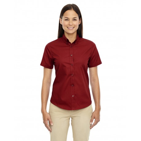 78194 Core 365 78194 Ladies' Optimum Short-Sleeve Twill Shirt CLASSIC RED 850