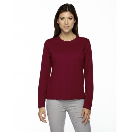 78199 Core 365 78199 Ladies' Agility Performance Long-Sleeve Pique Crewneck CLASSIC RED 850