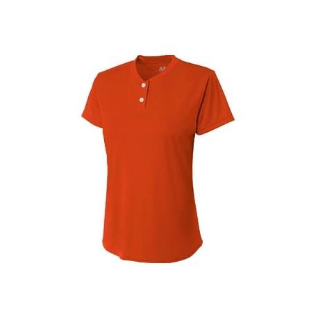 NG3143 A4 NG3143 Girl's Tek 2-Button Henley Shirt ATHLETIC ORANGE