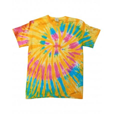 CD100Y Tie-Dye CD100Y Youth 5.4 oz., 100% Cotton Tie-Dyed T-Shirt BLACK RAINBOW