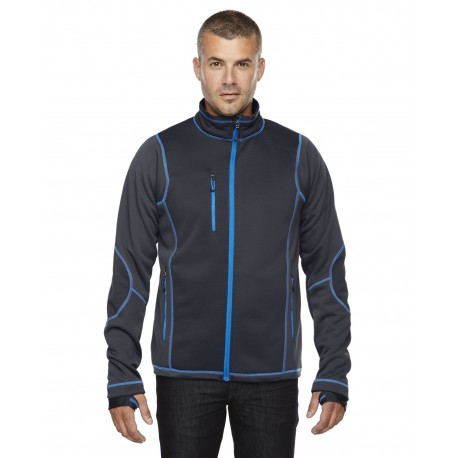 88681 North End 88681 Men's Pulse Textured Bonded Fleece Jacket with Print CRBN/OLY BL 466