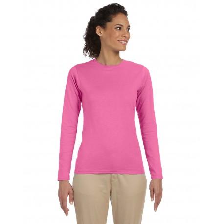 G644L Gildan G644L Ladies' Softstyle 4.5 oz. Long-Sleeve T-Shirt AZALEA