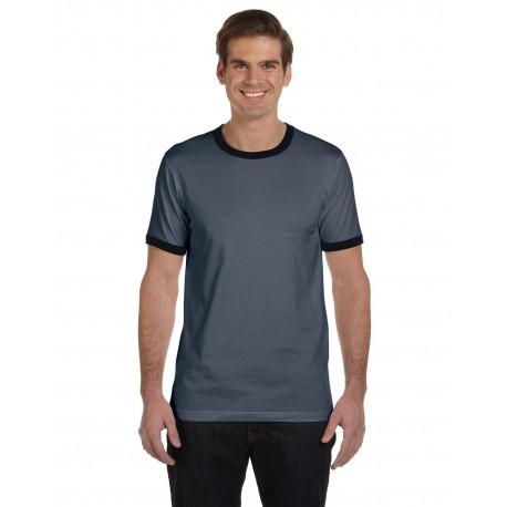 3055C Bella + Canvas 3055C Men's Jersey Short-Sleeve Ringer T-Shirt DEEP HEATHR/BLK
