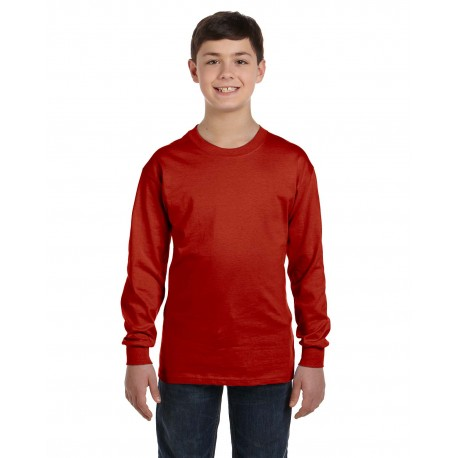 5546 Hanes 5546 Youth 6.1 oz. Tagless Long-Sleeve T-Shirt DEEP RED