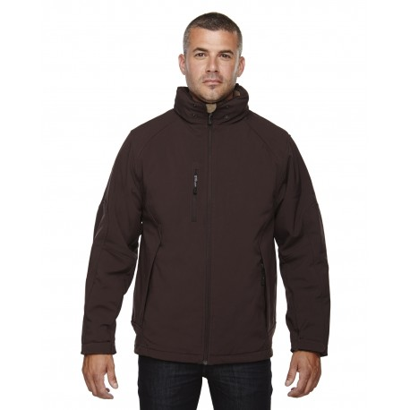 88159 North End 88159 Men's Glacier Insulated Three-Layer Fleece Bonded Soft Shell Jacket with Detachable Hood DK CHOCOLTE 672