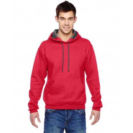 SF76R Fruit of the Loom SF76R Adult 7.2 oz. SofSpun Hooded Sweatshirt FIERY RED