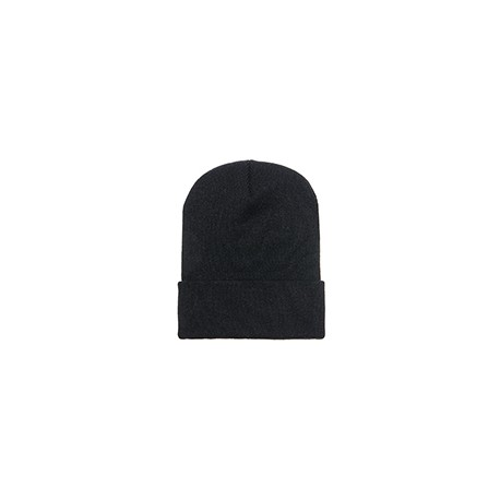 1501 Yupoong 1501 Adult Cuffed Knit Beanie BLACK
