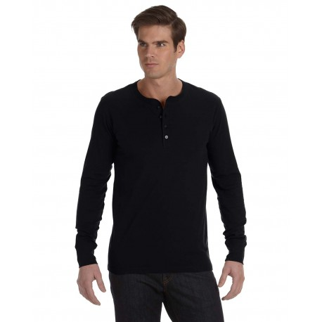 3150 Bella + Canvas 3150 Men's Jersey Long-Sleeve Henley BLACK