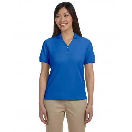 D100W Devon & Jones D100W Ladies' Pima Pique Short-Sleeve Y-Collar Polo FRENCH BLUE