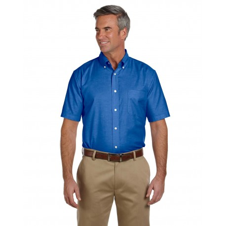 M600S Harriton M600S Men's Short-Sleeve Oxford with Stain-Release FRENCH BLUE