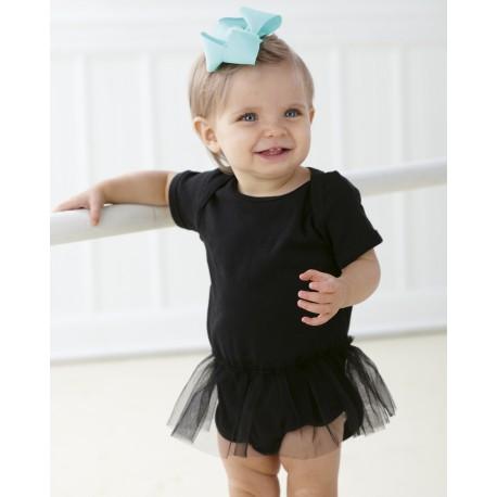 4422 Rabbit Skins 4422 Infant Baby Rib Lap Shoulder Tutu Creeper BLACK