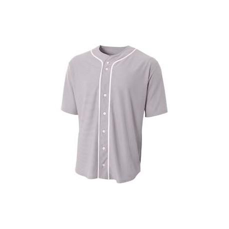 N4184 A4 N4184 Shorts Sleeve Full Button Baseball Top GREY