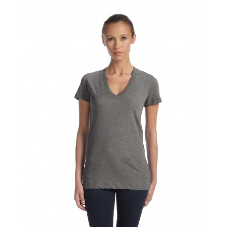 8435 Bella + Canvas 8435 Ladies' Triblend Short-Sleeve Deep V-Neck T-Shirt GREY TRIBLEND