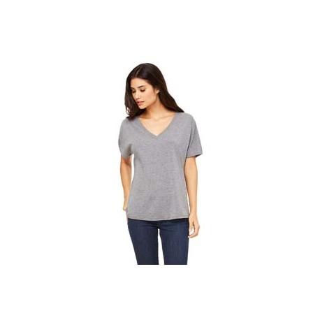 8815 Bella + Canvas 8815 Ladies' Slouchy V-Neck T-Shirt GREY TRIBLEND