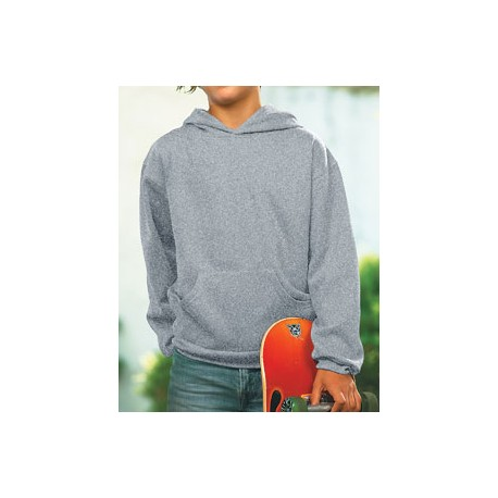 2296 LAT 2296 Youth Fleece Hooded Pullover Sweatshirt With Pouch Pocket HEATHER