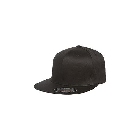 6297F Flexfit 6297F Adult Wooly Twill Pro Baseball On-Field Shape Cap with Flat Bill BLACK