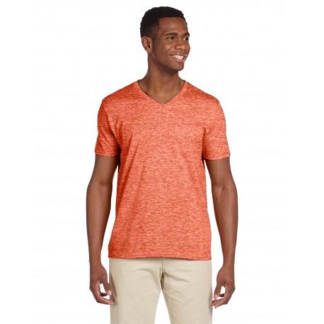 G64V Gildan G64V Adult Softstyle 4.5 oz. V-Neck T-Shirt HEATHER ORANGE