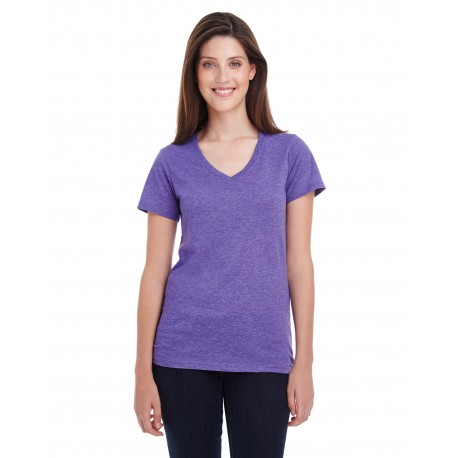 392A Anvil 392A Ladies' Featherweight V-Neck T-Shirt HEATHER PURPLE