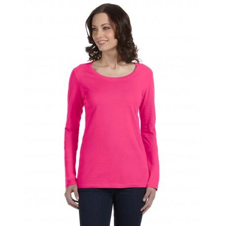 399 Anvil 399 Ladies' Featherweight Long-Sleeve Scoop T-Shirt HOT PINK