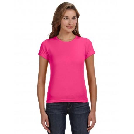 1441 Anvil 1441 Ladies' 1x1 Baby Rib Scoop T-Shirt HOT PINK