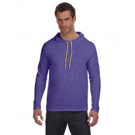 987AN Anvil 987AN Adult Lightweight Long-Sleeve Hooded T-Shirt HTH PRP/NEO YEL
