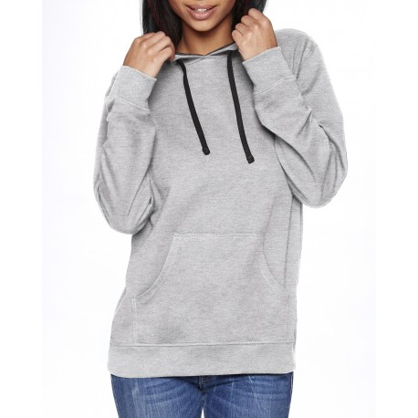 9301 Next Level 9301 Unisex French Terry Pullover Hoody HTHR GREY/BLACK