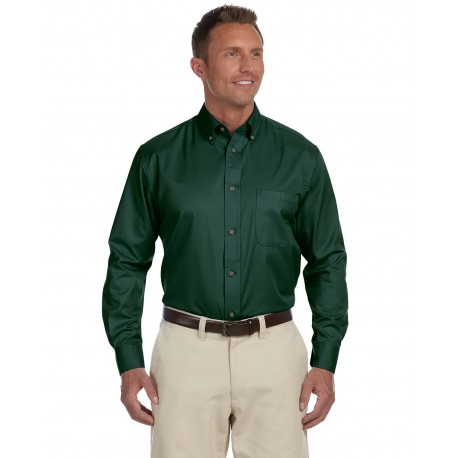 M500 Harriton M500 Men's Easy Blend Long-Sleeve Twill Shirt with Stain-Release HUNTER