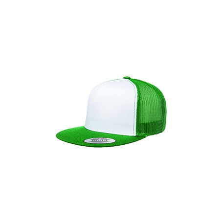 6006W Yupoong 6006W Adult Classic Trucker with White Front Panel Cap KELLY/WHT/KLY