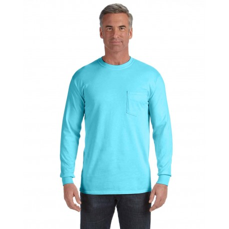 C4410 Comfort Colors C4410 Adult Heavyweight RS Long-Sleeve Pocket T-Shirt LAGOON BLUE