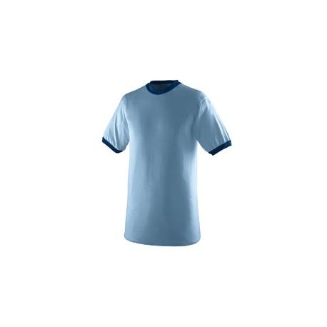710 Augusta Sportswear 710 Adult Ringer T-Shirt LIGHT BLUE/NAVY