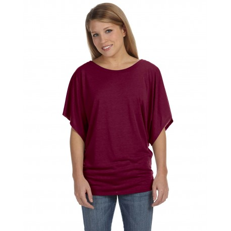 8821 Bella + Canvas 8821 Ladies' Flowy Draped Sleeve Dolman T-Shirt MAROON