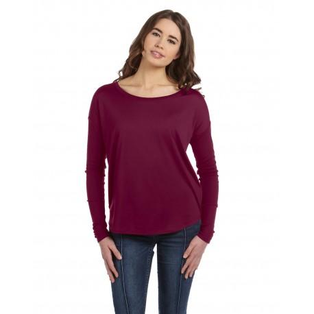 8852 Bella + Canvas 8852 Ladies' Flowy Long-Sleeve T-Shirt with 2x1 Sleeves MAROON
