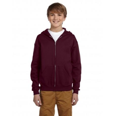 993B Jerzees 993B Youth 8 oz. NuBlend Fleece Full-Zip Hood MAROON