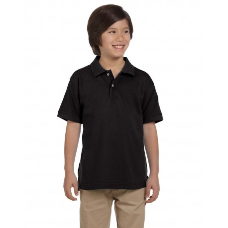 M200Y Harriton M200Y Youth 6 oz. Ringspun Cotton Pique Short-Sleeve Polo BLACK